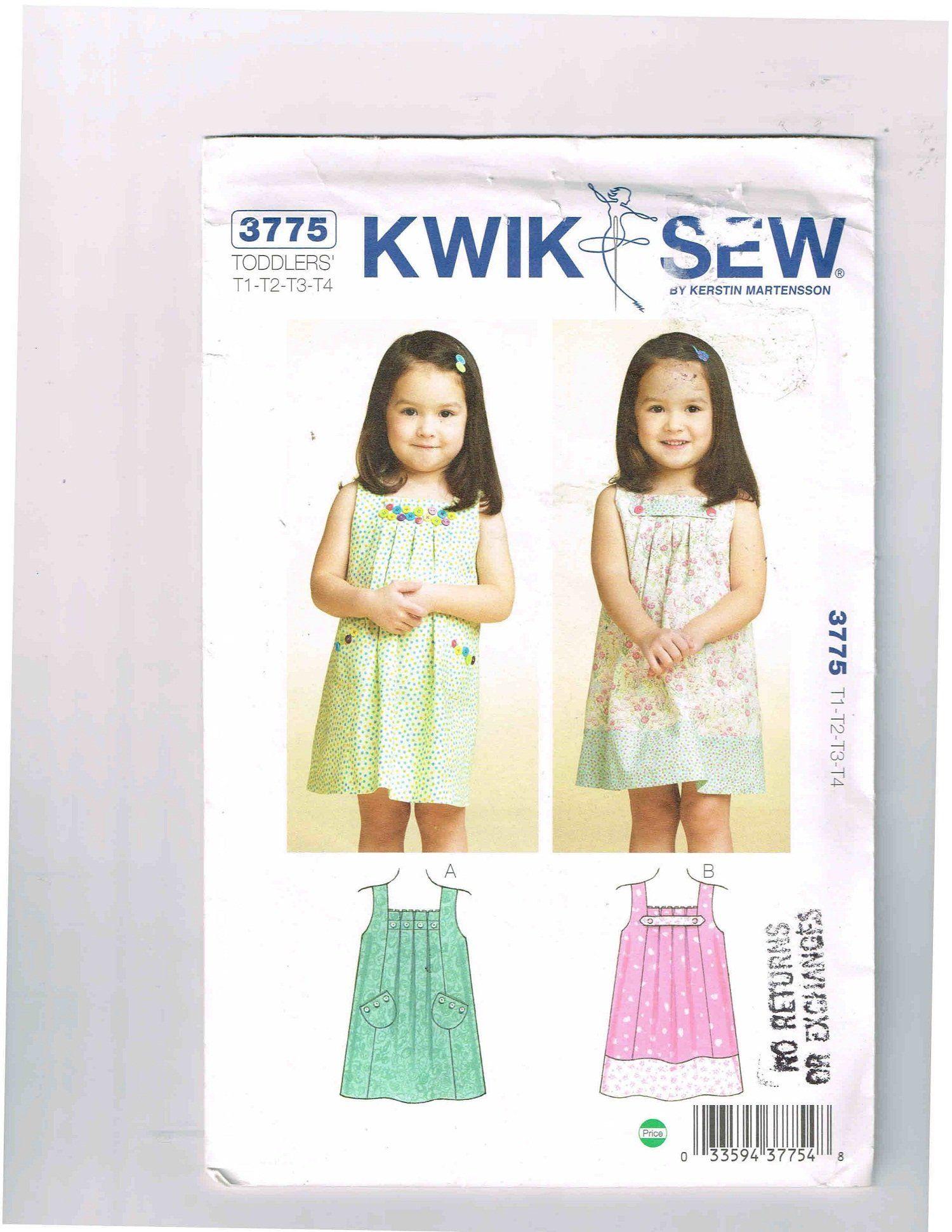 2010 Sealed, Uncut Toddler\'s Dress Pattern, Kwik Sew #3775, Sizes T1 ...