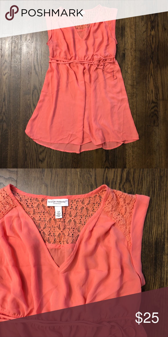 a6e8179817401 Gorgeous coral maternity shirt Beautiful coral maternity shirt that is  flowy below the breasts with tie. Lace shoulder accents. Was my favorite  while I was ...