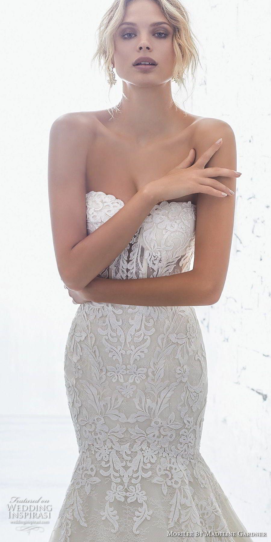 Grey mermaid wedding dress  morilee  bridal strapless sweetheart neckline full embellishment