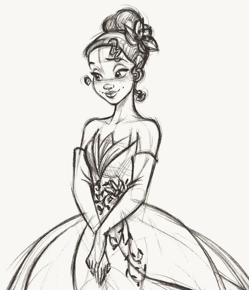 Tiana - Disney Fairytale Designer Collection Rough sketch   drawing ...
