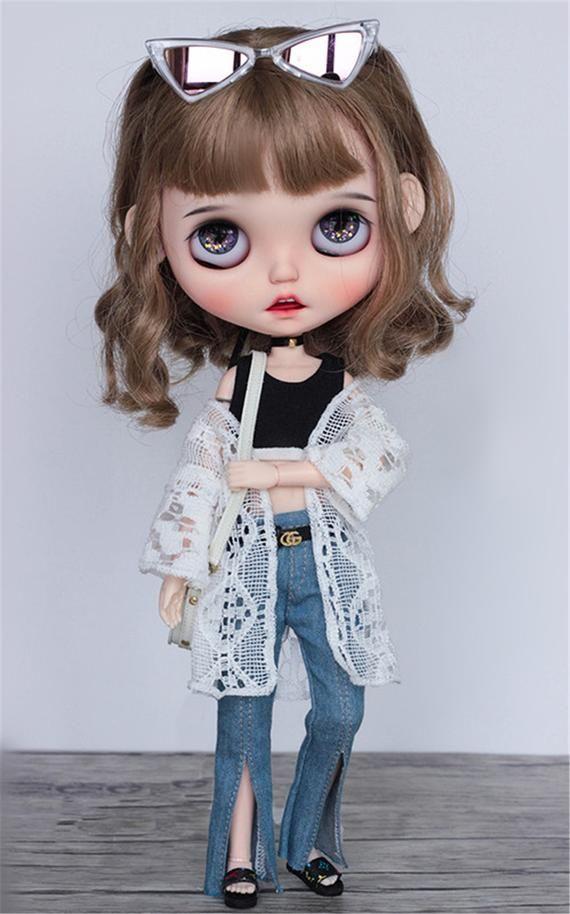 NEW ARRIVAL Doll Clothes Doll Dress White Lace Smock Black Vest Split Denim Pants Doll Belts for Bly