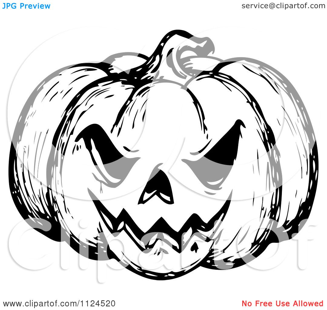 Clipart Of A Sketched Black And White Evil Halloween