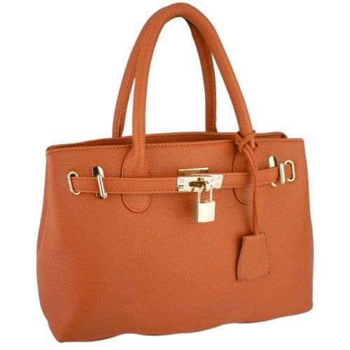HESSA Orange Décor Lock Double Top Handle Zippered Office Tote Bag ...