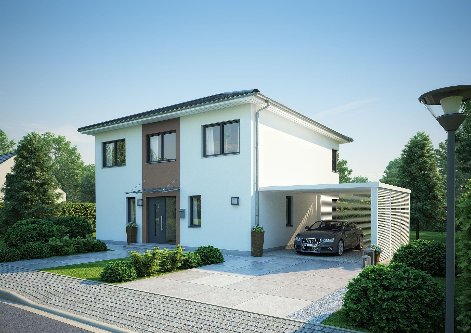 Zufahrt Und Eingangsbereich Stadtvilla Mit Carport In 2020 Stadtvilla Stadtvilla Bauen Haus