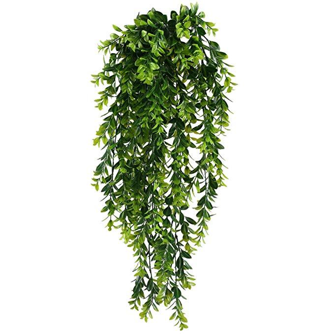 Amazon Com Huaesin Fake Hanging Plants 2pcs Fake Plastic Hanging Greenery Leaf Plant Uv Artifi Fake Hanging Plants Fake Plants Decor Artificial Hanging Plants