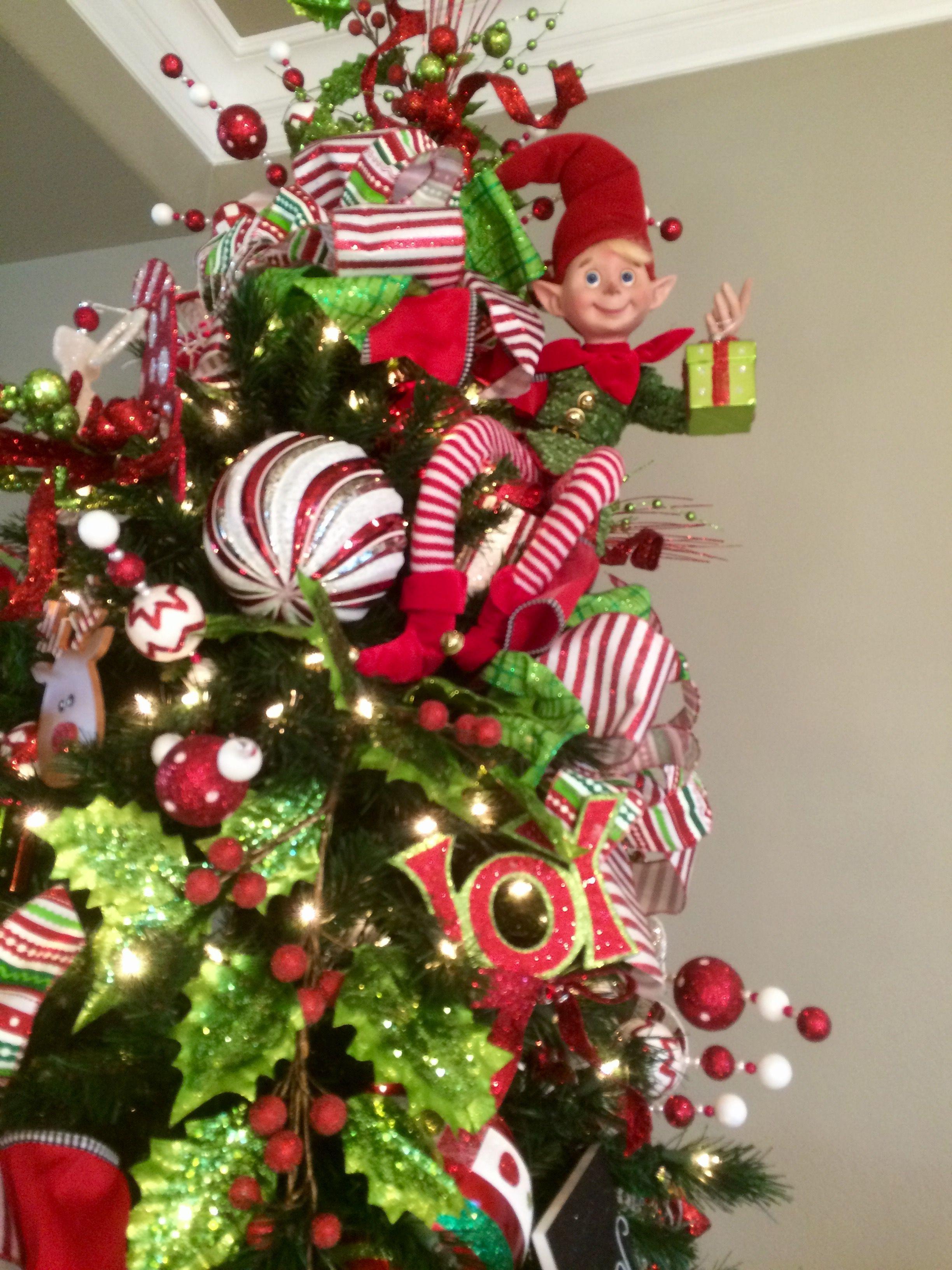 Elf Legs Christmas Tree Topper Ready To Ship Christmas Tree Toppers Christmas Tree Topper Bow Christmas Tree Bows