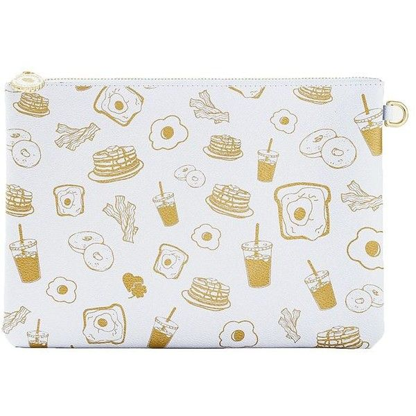 Stoney Clover Lane Brunch Zip Pouch (210 SEK) ❤ liked on Polyvore featuring bags, handbags, clutches, white, white leather handbags, 100 leather handbags, genuine leather purse, pouch purse and white clutches
