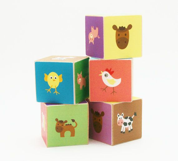 Farm Animal Wooden Blocks for $23 by Tiny Giraffe Shop on Etsy