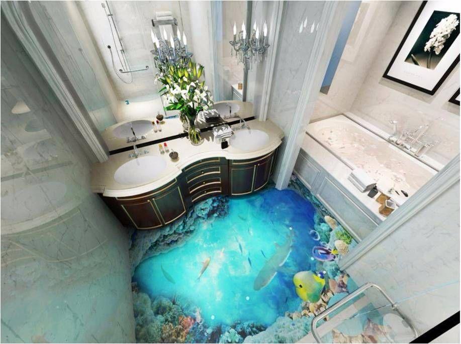 3d Hd Waterproof Bathroom Floorpaper Ocean Self Adhesive Sea Bathroom Decor Floor Wallpaper Bathroom Mural