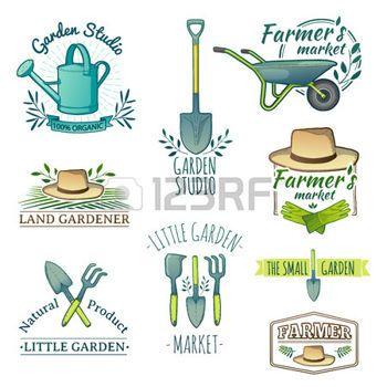 outils de jardin: Jeu de couleurs rétro vintage labels ...
