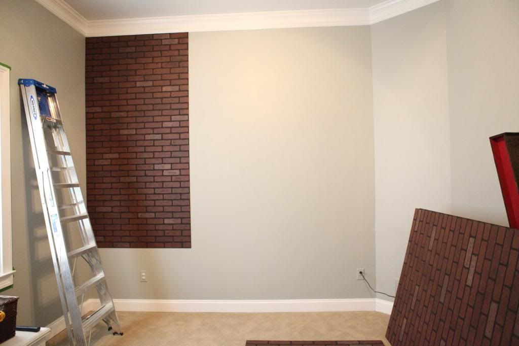 brick accent wall made with faux sheets from lowes