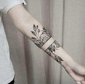 Forearm Band Tattoos For Men Script