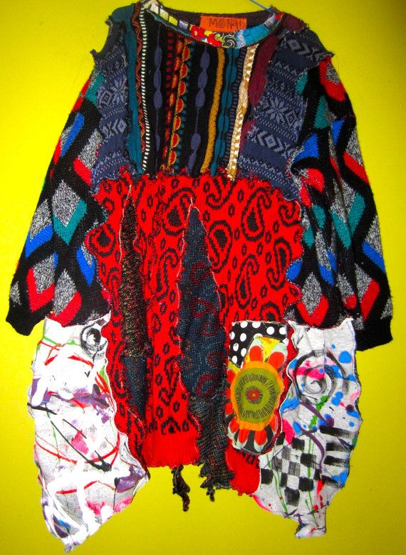 Long Sleeve V Neck Sweater Hipster Textured Multi Colorful Squiggle Stripes 80s COOGI Australia XL Sweater Cotton