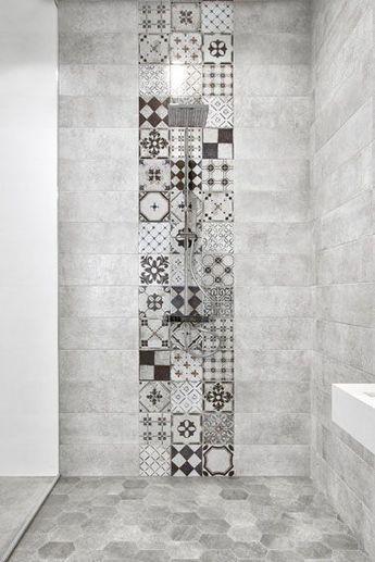salle-de-bain-carreau-ciment   Baño   Pinterest   Bath room, Bath ...