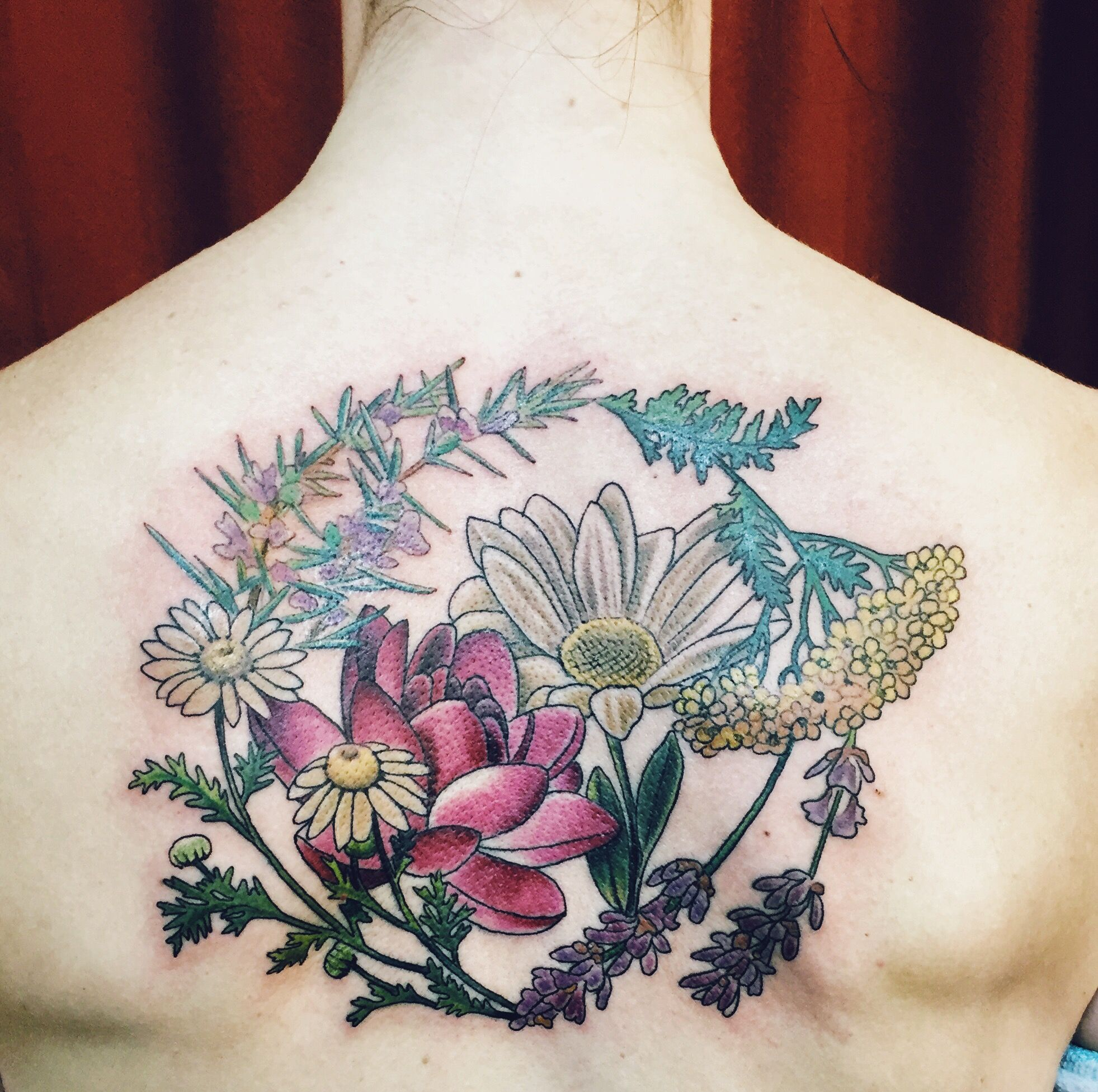 wreath tattoo, herbal wreath and birth flowers--Rosemary ...