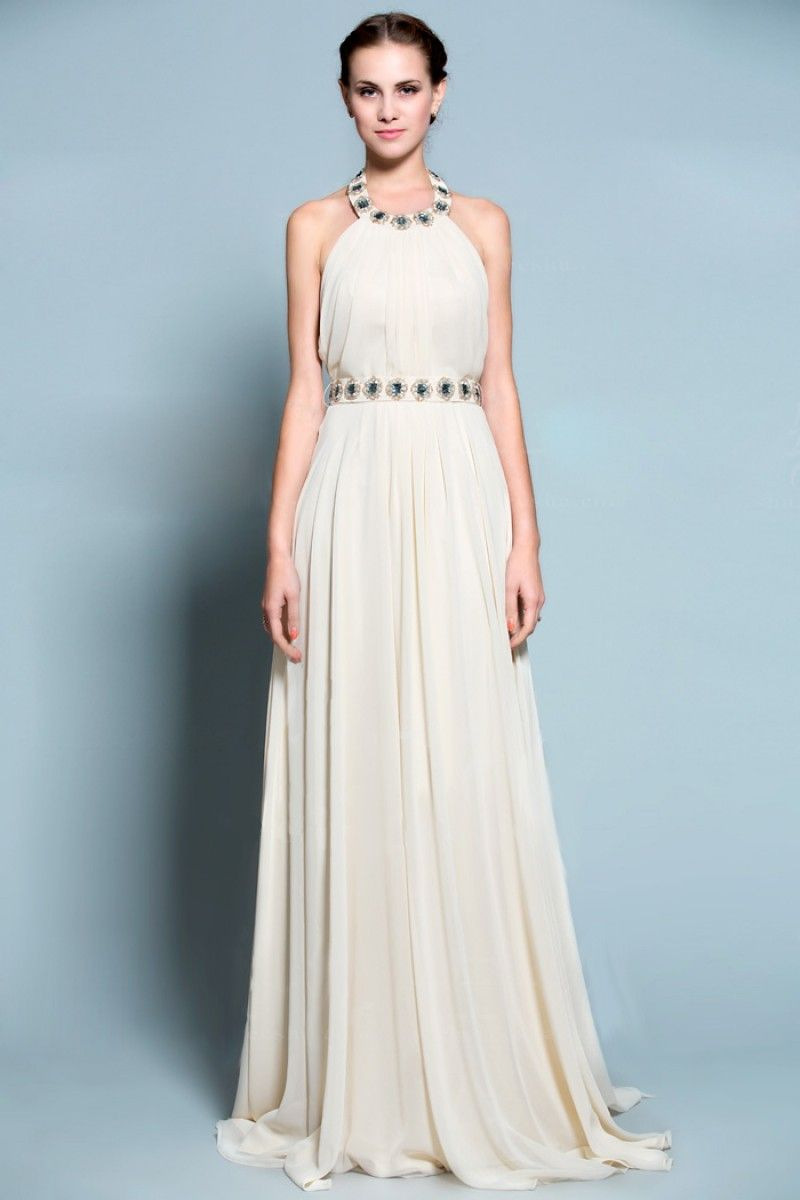 $159.58 Vintage Greek Style Long Chiffon Gown with Beaded Round Neck ...