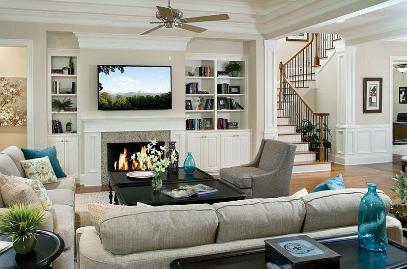 Best Traditional Family Room Ideas With Tv Above Fireplaces With Books Cab Electric Fireplace Living Room Living Room Decor Traditional Traditional Living Room