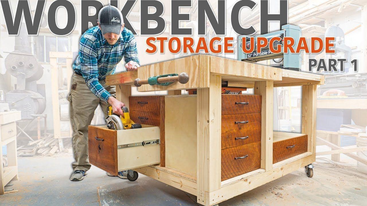 Double Flip Top Workbench Storage Upgrade Part 1 Of 2 Youtube Workbench Plans Workbench Storage