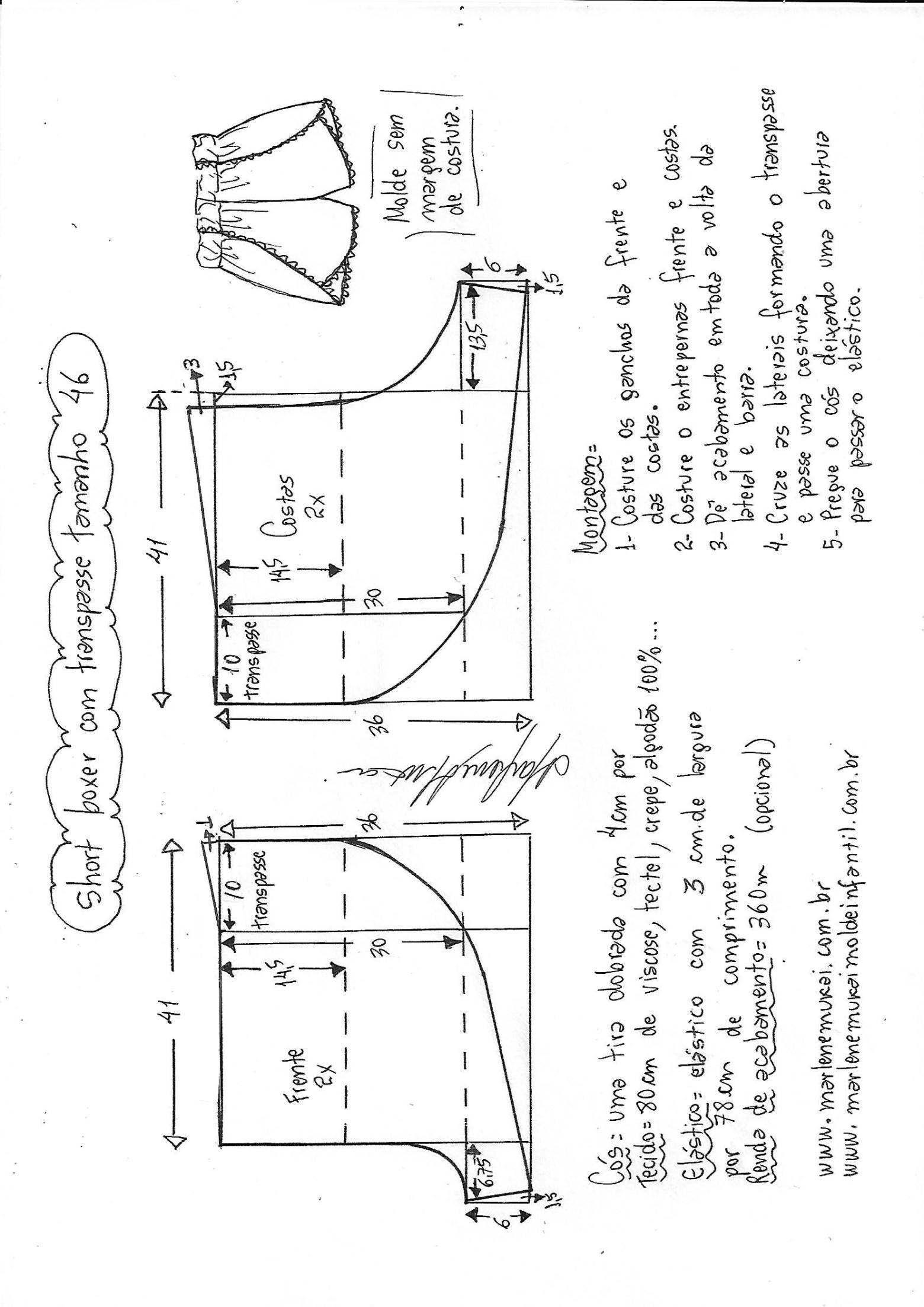 Short boxer com transpasse na lateral | Modelagem de