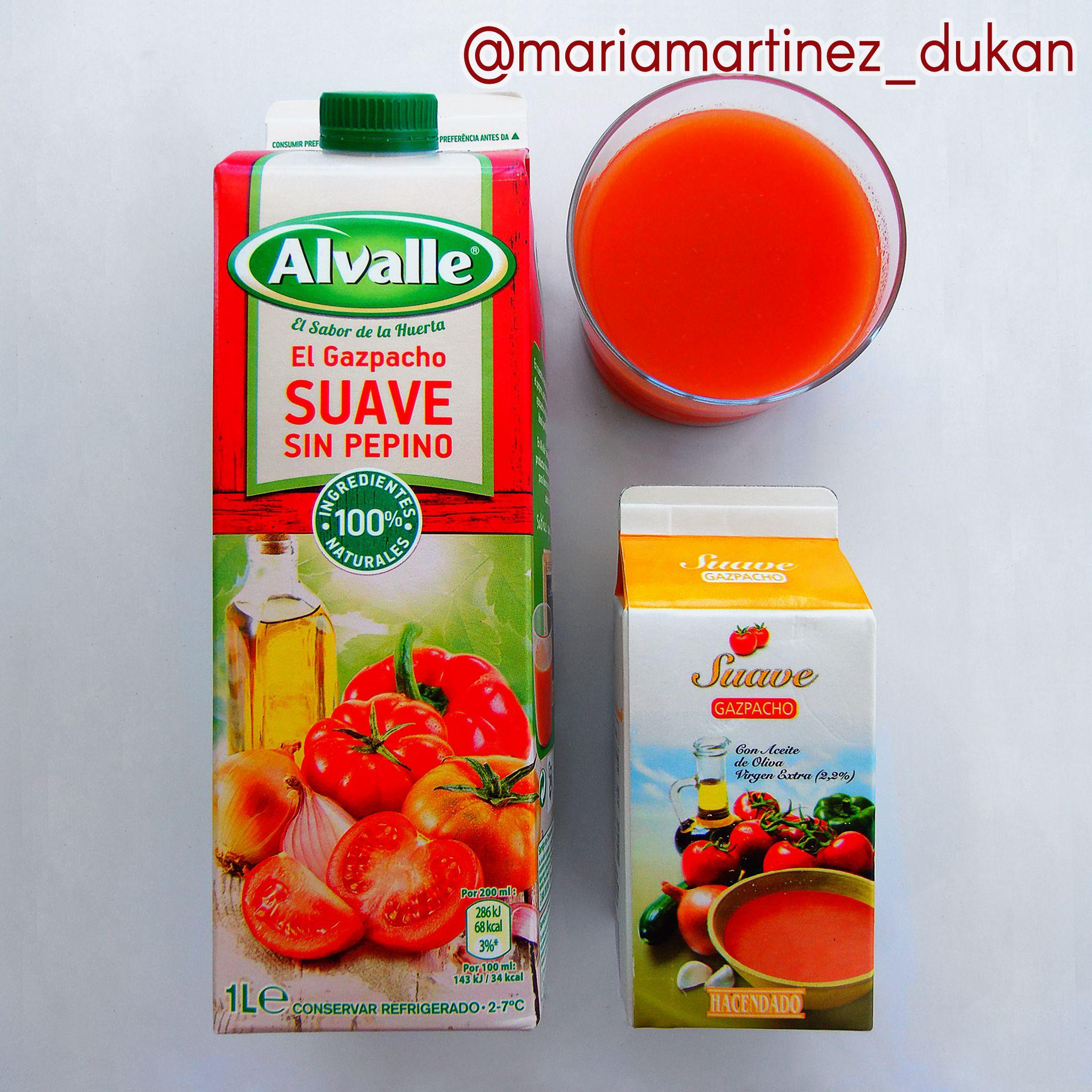 Gazpacho apto Dukan para días de Proteína Verdura (PV) sin contar tolerados: elige los que no llevan azúcar ni pan en la LISTA de ingredientes