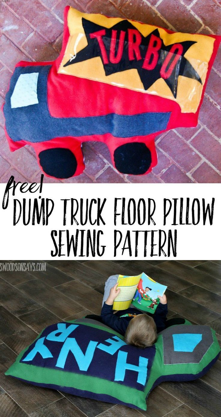 A free dump truck floor pillow sewing pattern, perfect gift to sew ...