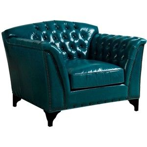 Attractive Universal Lighting And Decor Peacock Dark Turquoise Top Grain Leather Club  Chair