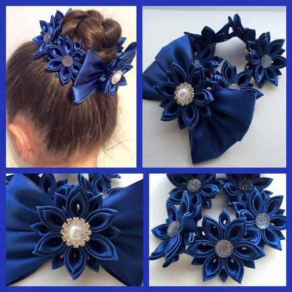 Handmade Girl's Flower Bun Wrap/Top Knot in Navy, Kanzashi, School/Party, Hair Accessory