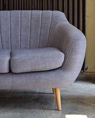 Retro Sofa Azure 2-Sitzer Stoff Graublau Amazonde Küche