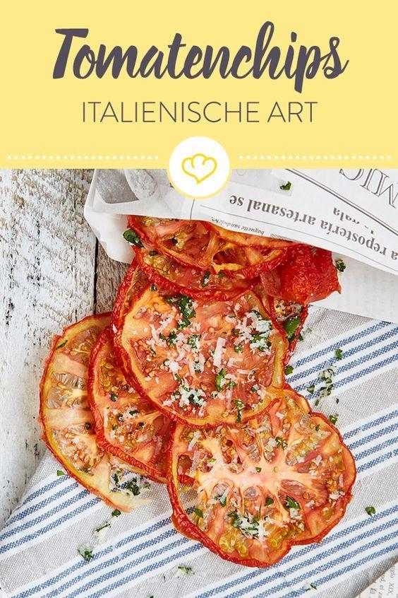 Disidratare le chips di pomodoro italiano con parmigiano e pertersilie