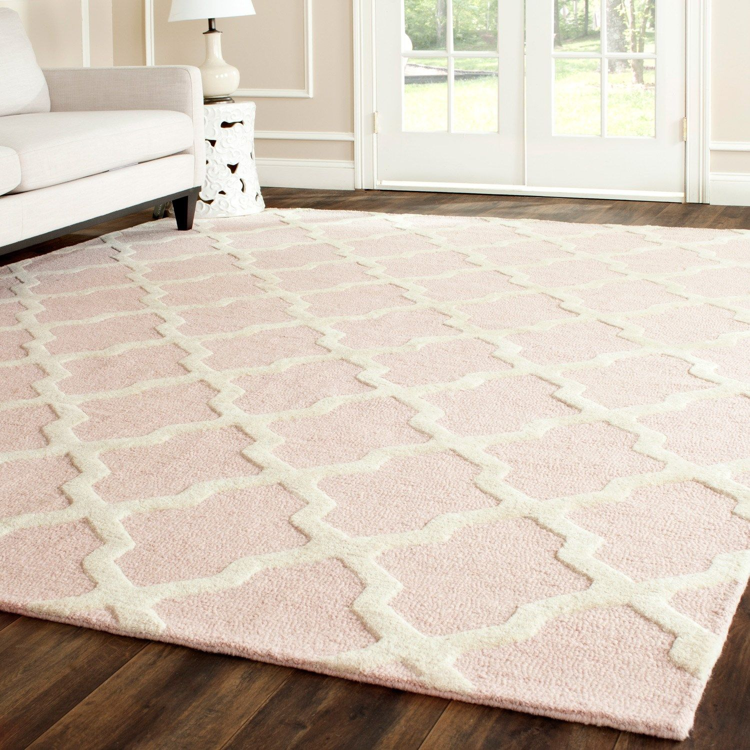 Cambridge Light Pink Ivory Tufted Wool Rug Laylagrayce Pastel