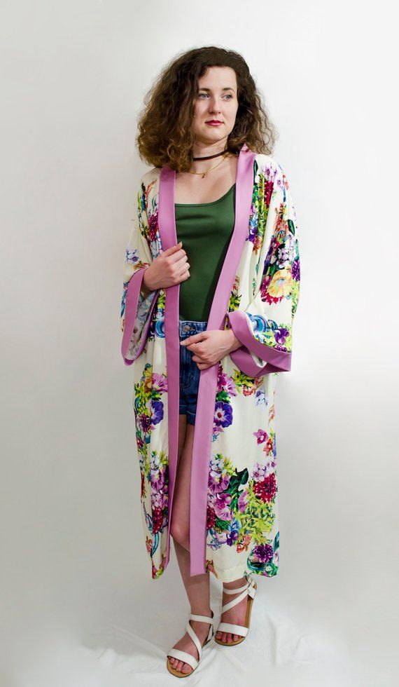 Photo of Long sleeves floral front open cotton long kimono cardigan Boho chic festival beach robe coat Bohemian oversize jacket Women plus size wrap – love it