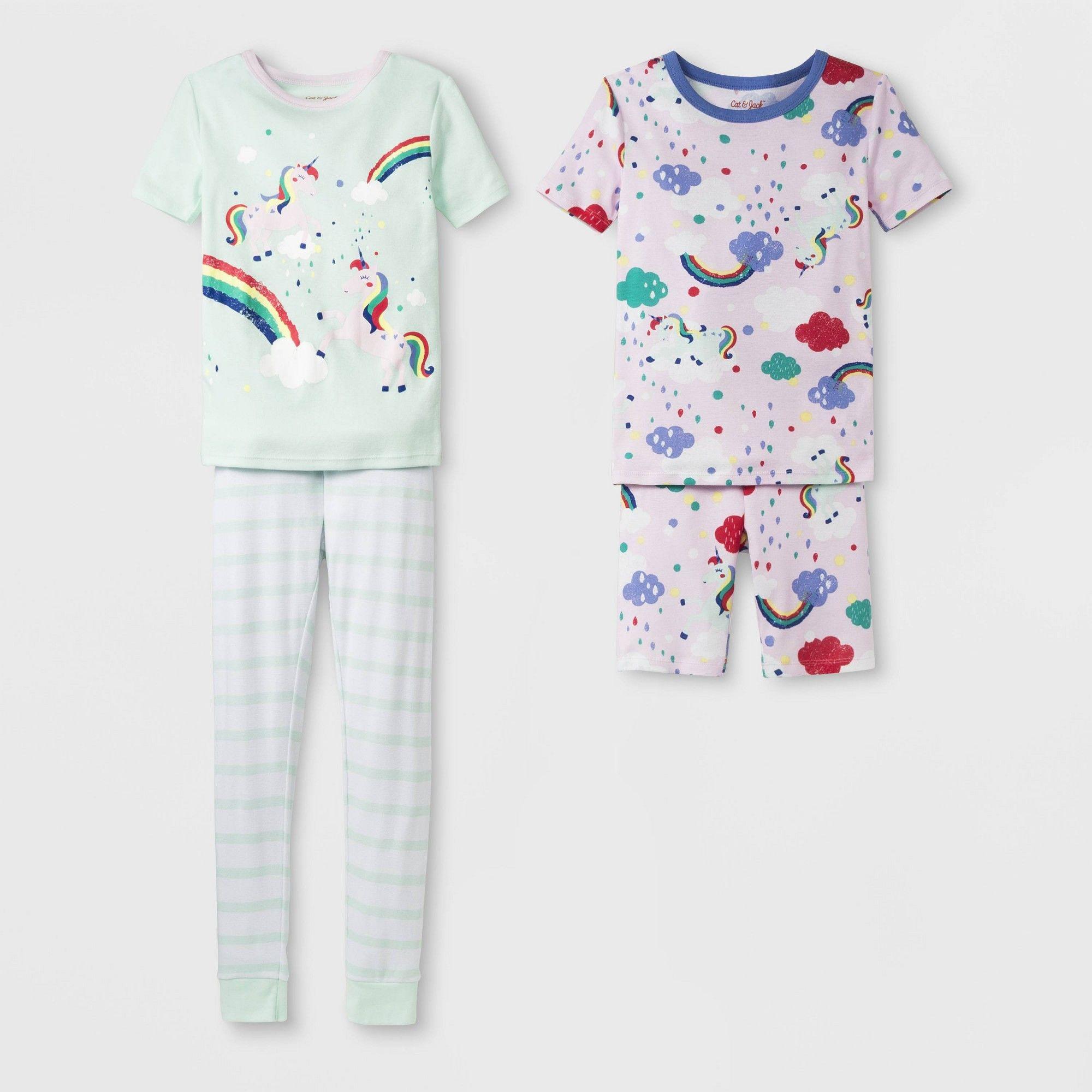 1c66a7d0135 Girls' Tight Fit Rainbow Unicorn Pajama Set - Cat & Jack Moonlight ...