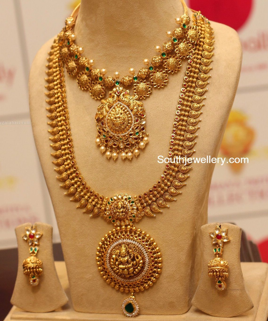 Chandbali Pendant Antique Haram Set | Antique gold, Gold and ...