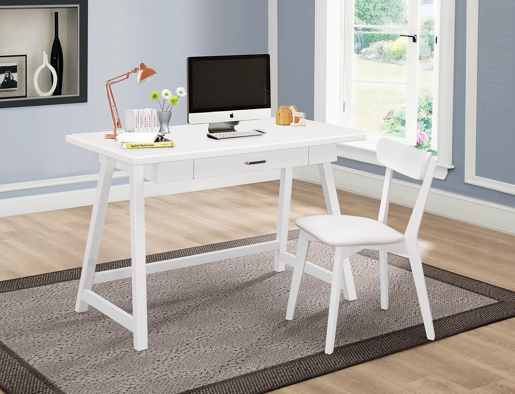 Minerva Collection 801108 2-Piece White Desk and Chair Set ...
