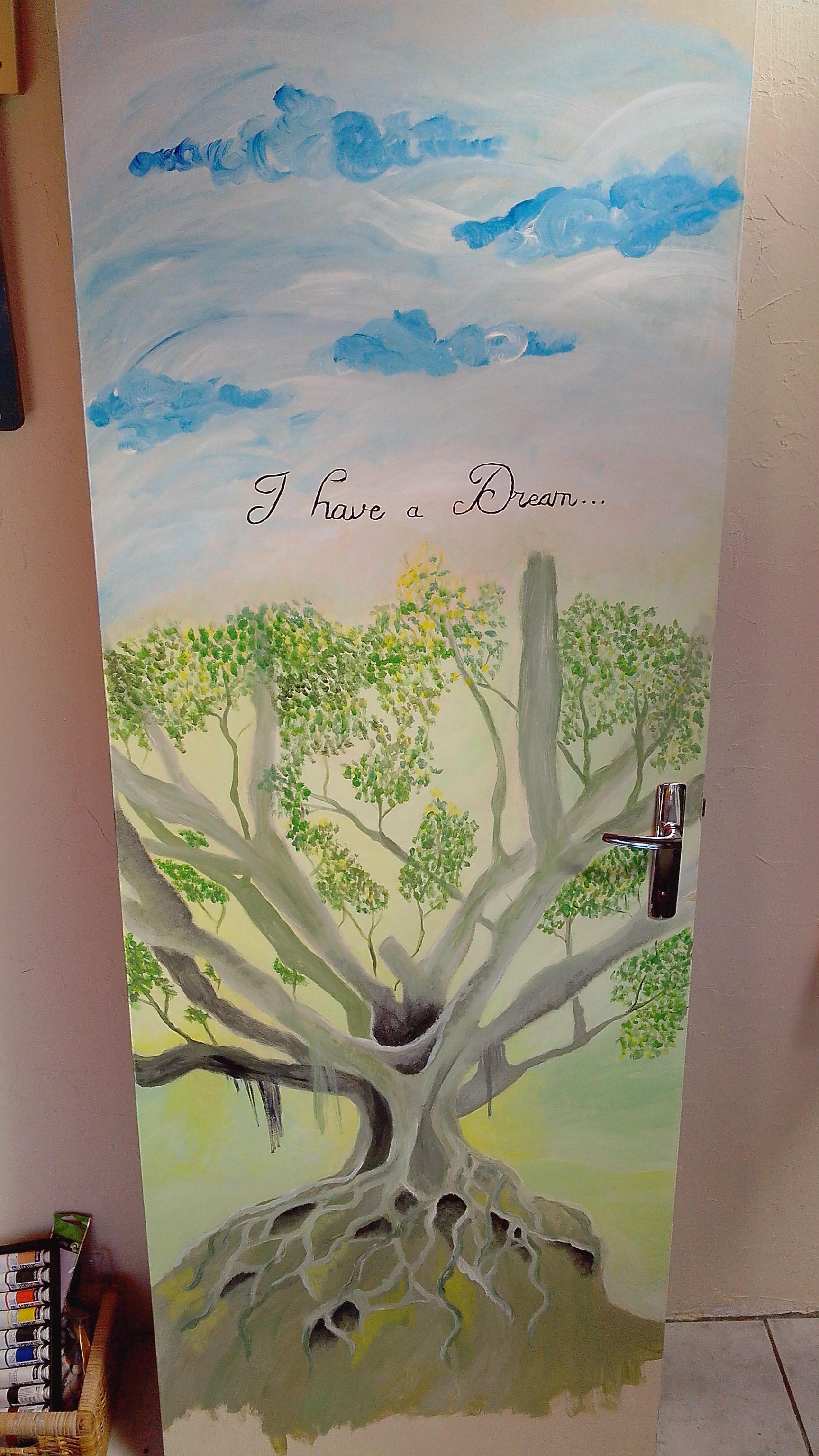 peinture sur bois porte de chambre