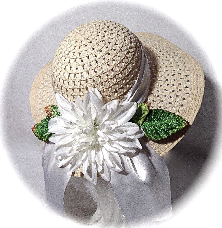 Large Girl S Easter Hat Flower Girl Hats Sun Hat Gh 122 Etsy Girls Easter Hats Flower Hats Girl With Hat