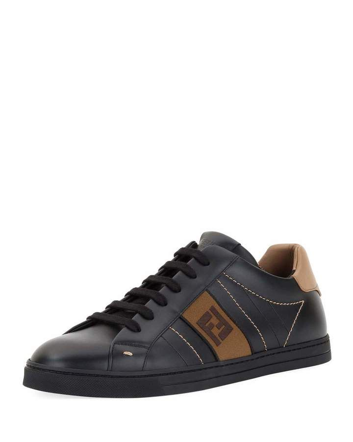 921f33b0 Men's FF Embroidered Leather Low-Top Sneakers in 2019 | Products ...