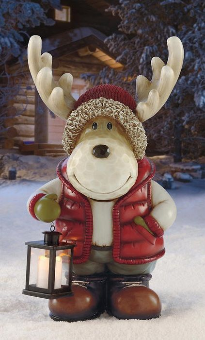 The moose with LED lantern is designed to bring smiles to ...