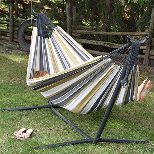 Vivere Double Hammock With Space Saving Steel Stand U003e Stand Dimensions:  108L X 48W X 44H Includes Hammock, Stand, And All Hardware Quickly  Assembles Without ...