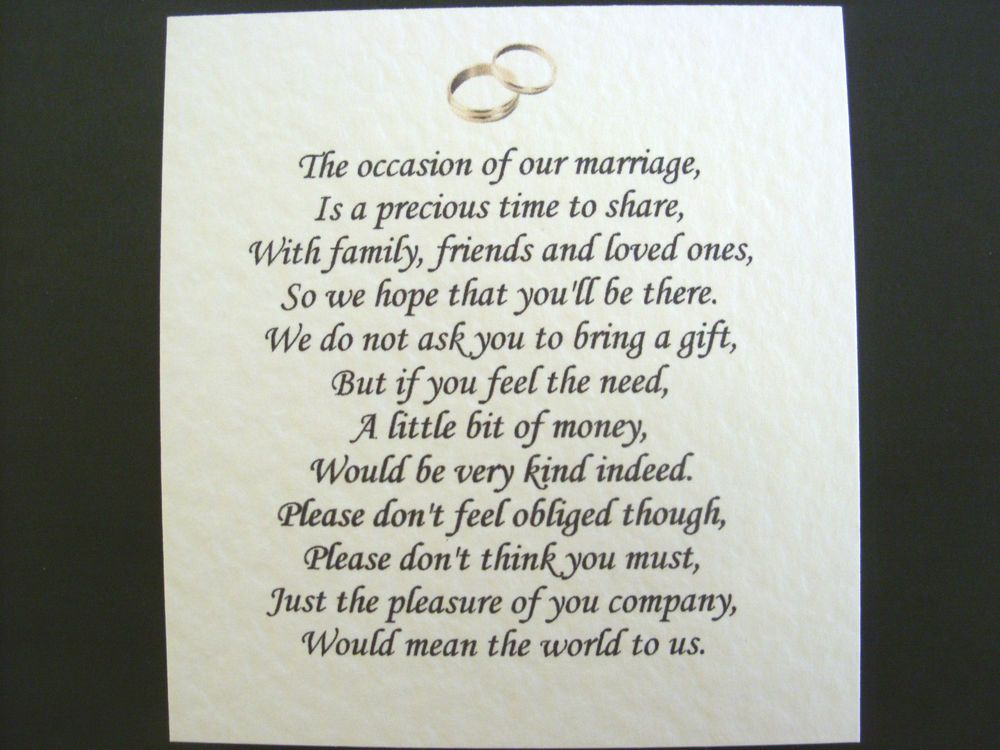 Wedding Invitation Wording For Monetary Gifts: Details About 20 Wedding Poems Asking For Money Gifts Not