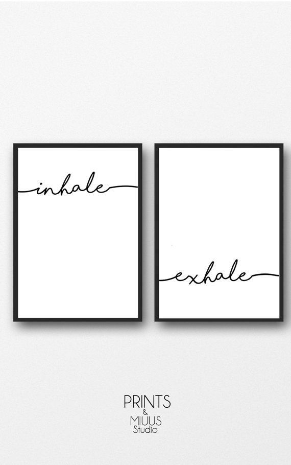 Inhale Exhale Print, Yoga wall art, Wall Prints, Inhale Exhale, Pilates Art, Relaxation Gift, Breath...