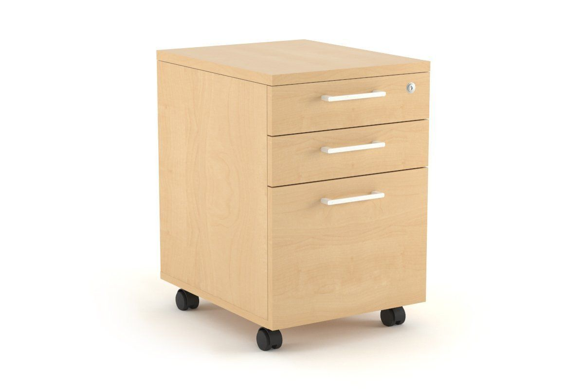 Mobile Pedestal With Lockable Filing Drawers Laminate Maple
