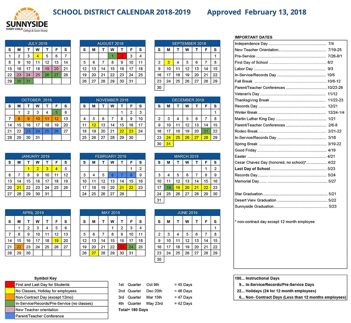 Sunnyside School District Calendar 2021 Background