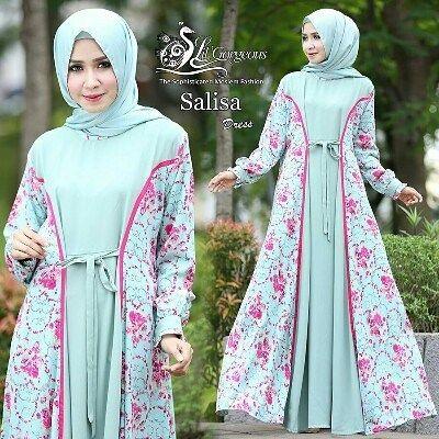 Salisa Dress By Lilgorgeous Bahan Moss Crepe Polos Kombinasi Bahan