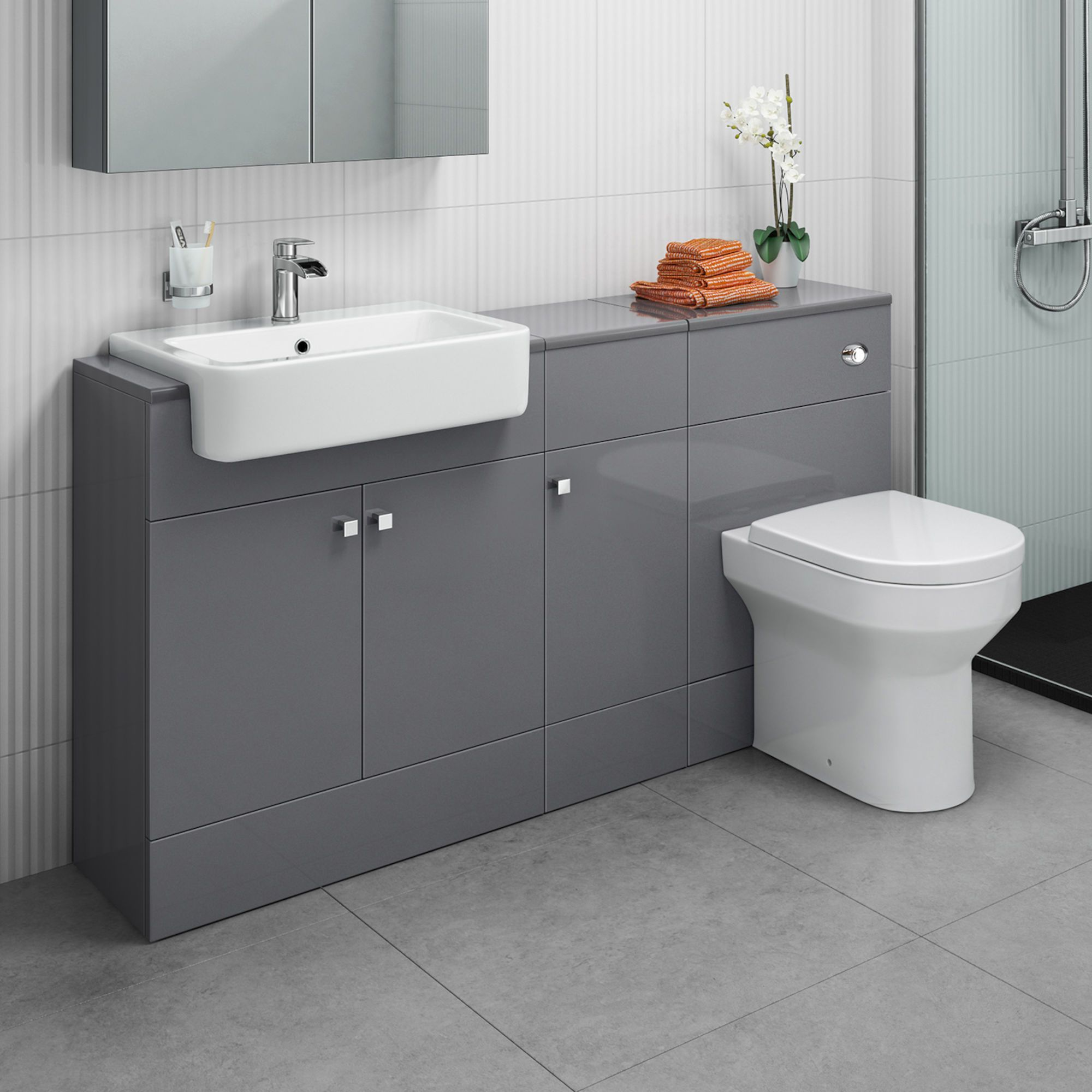 1500mm Harper Gloss Grey Combined Vanity Unit Cesar Iii Pan