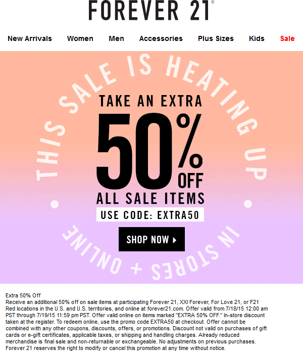 Extra 50 Off Sale Items At Forever 21 Xxi Forever For Love 21 F21 Red Or Online Via Promo Code Extra50 F21 Sale Items Kids Sale