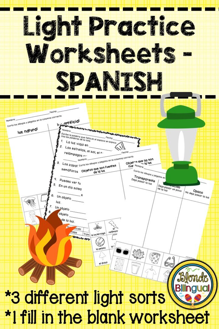 Light Practice Worksheets Spanish Worksheets Students And Spanish