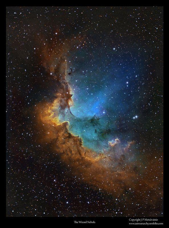 Wizard_HST   by J-P Metsavainio Sh2-142 Wizard Nebula