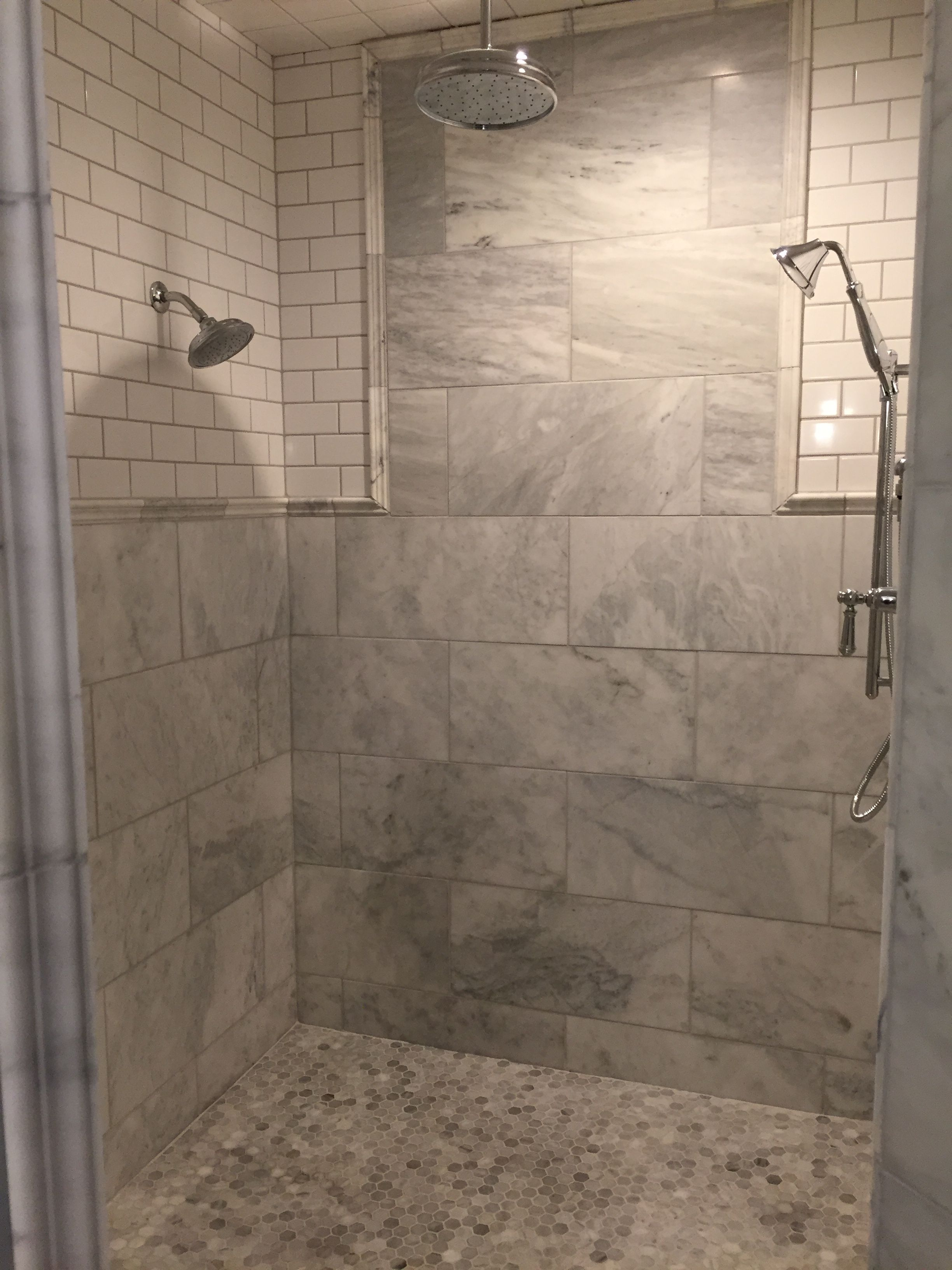 Master Bathroom Walk In Shower 12x18 Marble Tile Walls With 3x6 Subway Tile 1 Hexagonal Marble Floor Tile Kohl Master Bathroom Marble Tile Floor Bathroom
