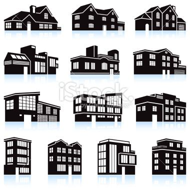 3d House And Apartment Complex Black And White Royalty Free Vector Apartment Complexes House Real Estate Icons